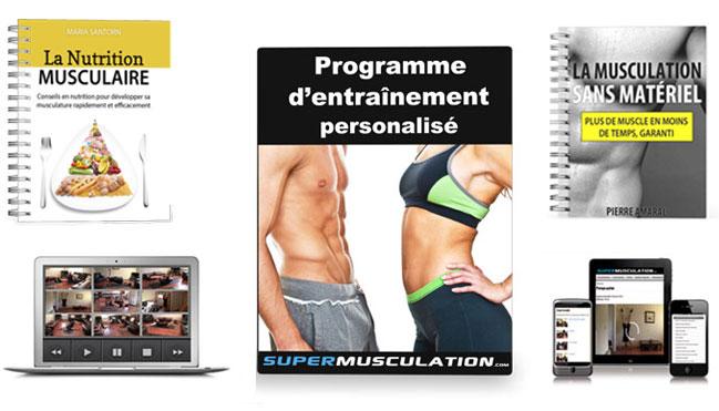 Super Musculation - Comment Obtenir Plus de Muscles en Seulement 15 Minutes par Jour - programme de musculation en ligne ne nécessitant aucun équipement ! Nous mettons à votre disposition un programme personnalisé ainsi que plus de 110 exercices vidéos vous permettant d'atteindre vos objectifs sans quitter votre domicile.
